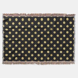 Manta Teste padrão de bolinhas elegante da folha de ouro