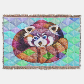 Manta Urso de panda vermelha no cubism de turquesa