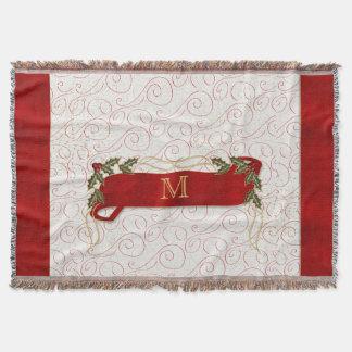Manta Vermelho festivo Monogrammed com os ramo do