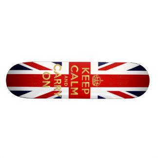 Mantenha a bandeira britânica calma Union Jack GB  Shape De Skate 21,6cm