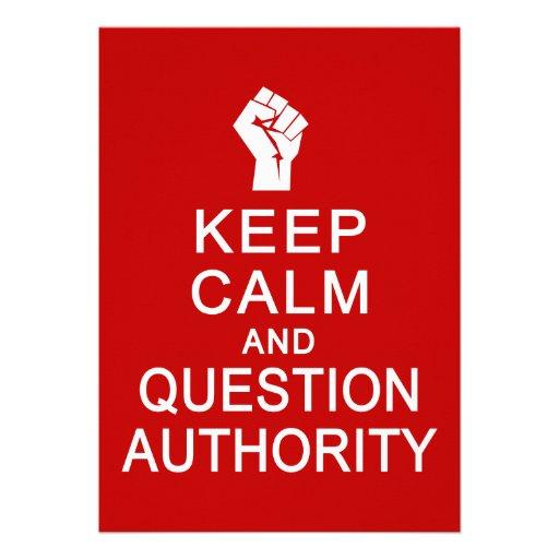 Mantenha a calma & a autoridade da pergunta, perso convite