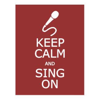 Mantenha a calma & cante-a no cartão feito sob
