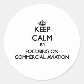 Mantenha a calma centrando-se sobre a aviação adesivos redondos