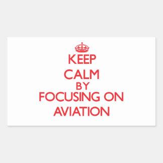 Mantenha a calma centrando-se sobre a aviação adesivos em formato retangulares