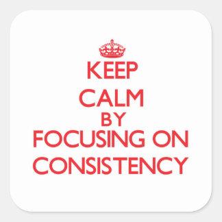 Mantenha a calma centrando-se sobre a consistência adesivos quadrados