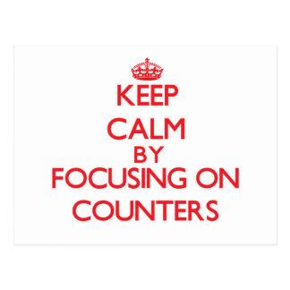 Mantenha a calma centrando-se sobre contadores cartoes postais