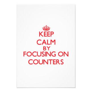 Mantenha a calma centrando-se sobre contadores convites personalizado