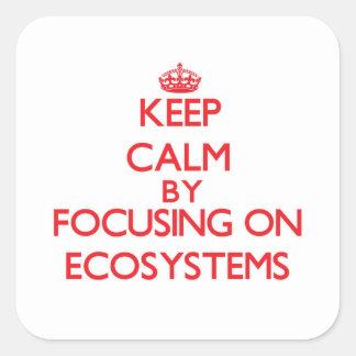 Mantenha a calma centrando-se sobre ECOSSISTEMAS Adesivo Em Forma Quadrada