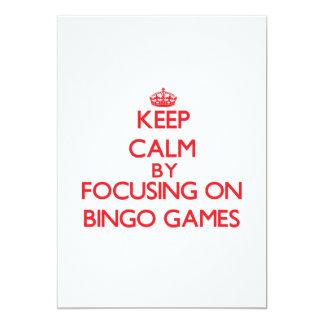Mantenha a calma centrando-se sobre jogos do Bingo Convites Personalizado