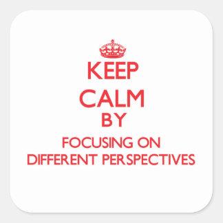 Mantenha a calma centrando-se sobre perspectivas adesivo quadrado