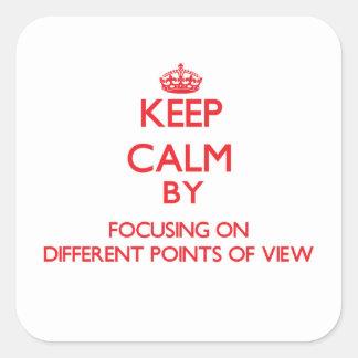 Mantenha a calma centrando-se sobre pontos de adesivo quadrado