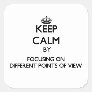 Mantenha a calma centrando-se sobre pontos de vist adesivo quadrado