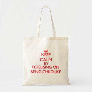 Mantenha a calma centrando-se sobre ser infantil bolsas de lona