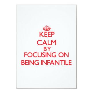 Mantenha a calma centrando-se sobre ser infantil convite 12.7 x 17.78cm