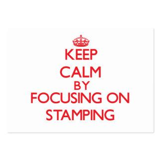 Mantenha a calma centrando-se sobre sobre o carimb cartoes de visita