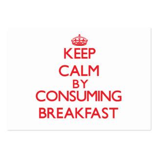 Mantenha a calma consumindo o pequeno almoço cartões de visitas