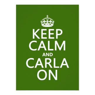 Mantenha a calma e a Carla sobre - toda a cor do Convite Personalizados