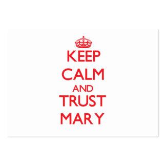 Mantenha a calma e a CONFIANÇA Mary Modelos Cartões De Visita