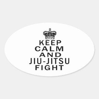 Mantenha a calma e a luta de Jiu-Jitsu Adesivos Oval