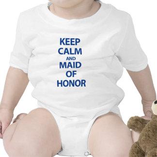 Mantenha a calma e a madrinha de casamento macacãozinho para bebê
