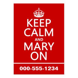 Mantenha a calma e a Mary em a cor variável Cartao De Visita