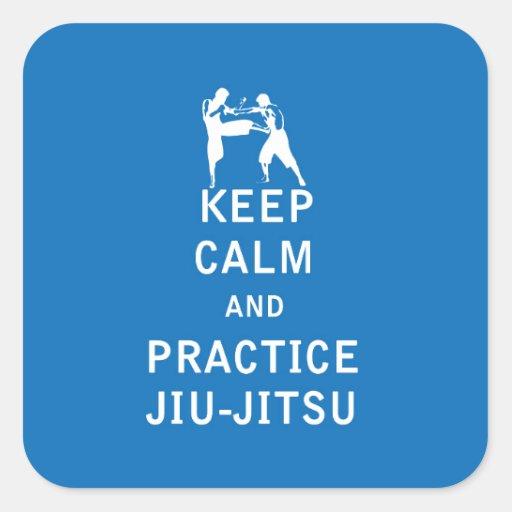 Mantenha a calma e a prática Jiu-Jitsu Adesivo Em Forma Quadrada