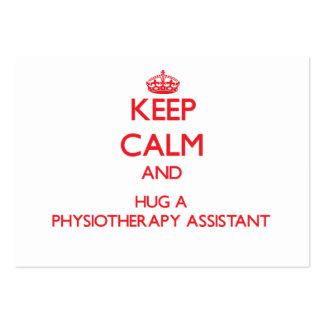 Mantenha a calma e abrace um assistente da fisiote cartoes de visita
