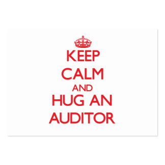 Mantenha a calma e abrace um auditor cartoes de visitas