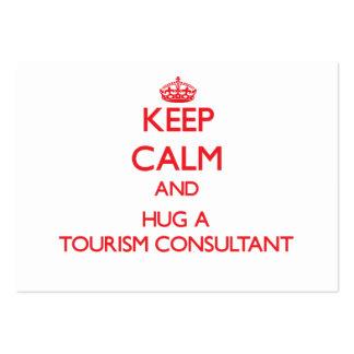 Mantenha a calma e abrace um consultante do turism modelo de cartões de visita