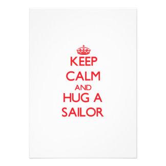 Mantenha a calma e abrace um marinheiro convites personalizados