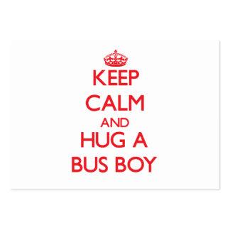 Mantenha a calma e abrace um menino de ônibus modelo cartao de visita