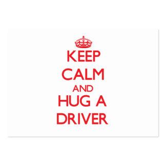 Mantenha a calma e abrace um motorista modelos cartões de visitas
