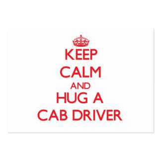 Mantenha a calma e abrace um motorista de táxi cartao de visita