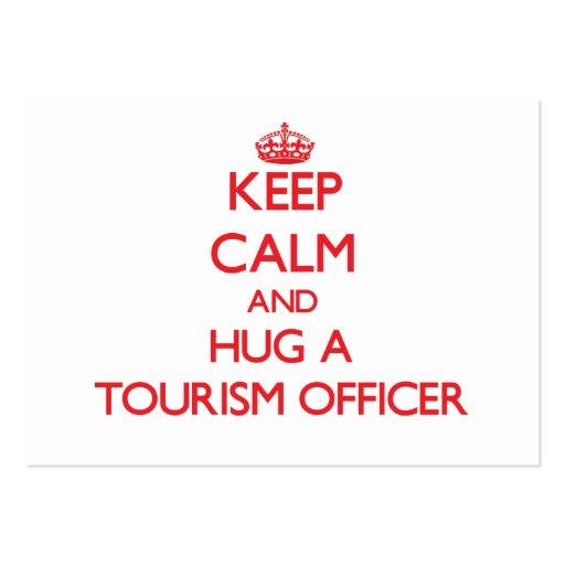 Mantenha a calma e abrace um oficial do turismo modelos cartões de visita
