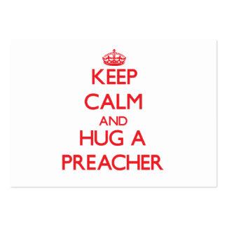 Mantenha a calma e abrace um pregador cartão de visita grande