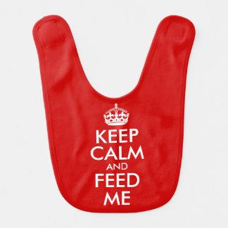 Mantenha a calma e alimente-me babador infantil