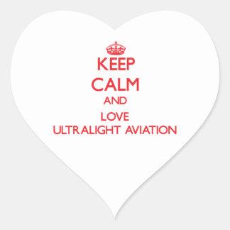 Mantenha a calma e ame a aviação ultraleve adesivos de corações