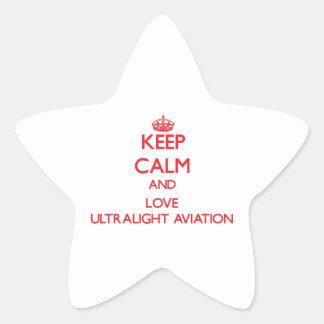 Mantenha a calma e ame a aviação ultraleve adesivos em forma de estrelas