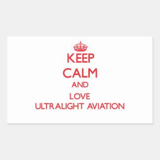 Mantenha a calma e ame a aviação ultraleve adesivo em formato retângular