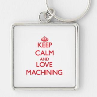 Mantenha a calma e ame-a fazer à máquina chaveiro