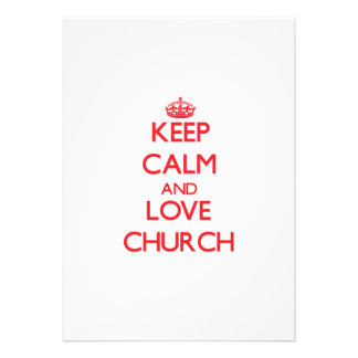 Mantenha a calma e ame a igreja convite personalizado