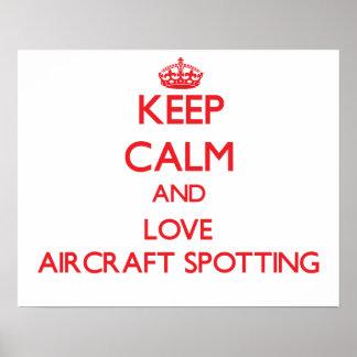 Mantenha a calma e ame a mancha dos aviões posteres