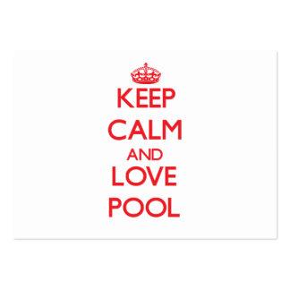 Mantenha a calma e ame a piscina cartoes de visitas