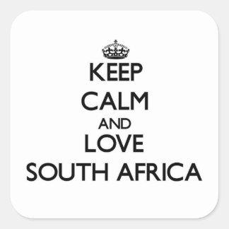 Mantenha a calma e ame África do Sul Adesivo Quadrado