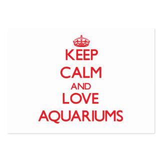 Mantenha a calma e ame aquários cartões de visitas