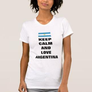 mantenha a calma e ame Argentina Camisetas