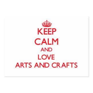 Mantenha a calma e ame artes e artesanatos cartao de visita