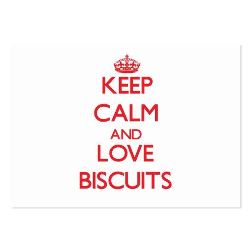 Mantenha a calma e ame biscoitos cartoes de visita