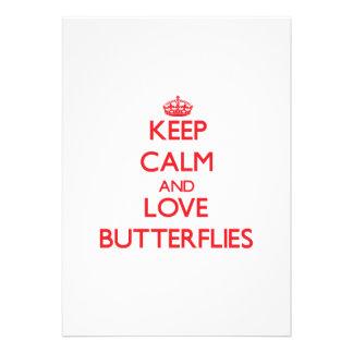 Mantenha a calma e ame borboletas convites personalizado