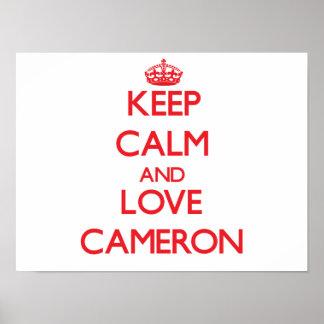 Mantenha a calma e ame Cameron Posteres